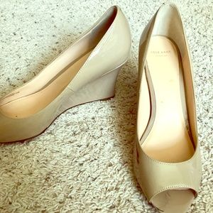 Cole Haan Nude Patent Leather Peep Toe Wedges